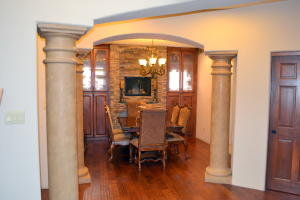 Dining room with custom cabinets