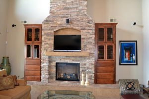 Built in bookcases and Stone Fireplace
