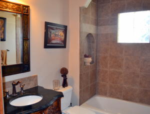 Downstairs powder room with granite