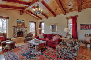 Family Room w/ cathedral beamed ceiling