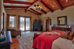 Master Bedroom w/ beamed cathedral ceili