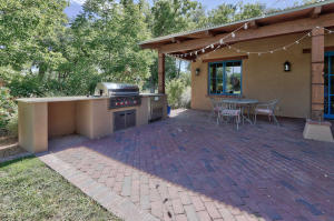 Built-in grill and brick patio