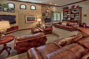 tiered seating in family room