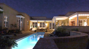 Residence and pool at night