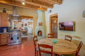 Kiva Fireplace in Kitchen
