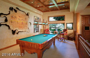 Billiards with Copper Accented Ceilings