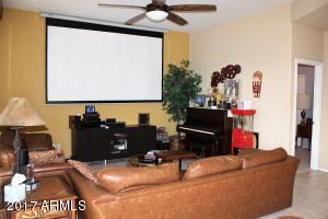 Family room with projection screen