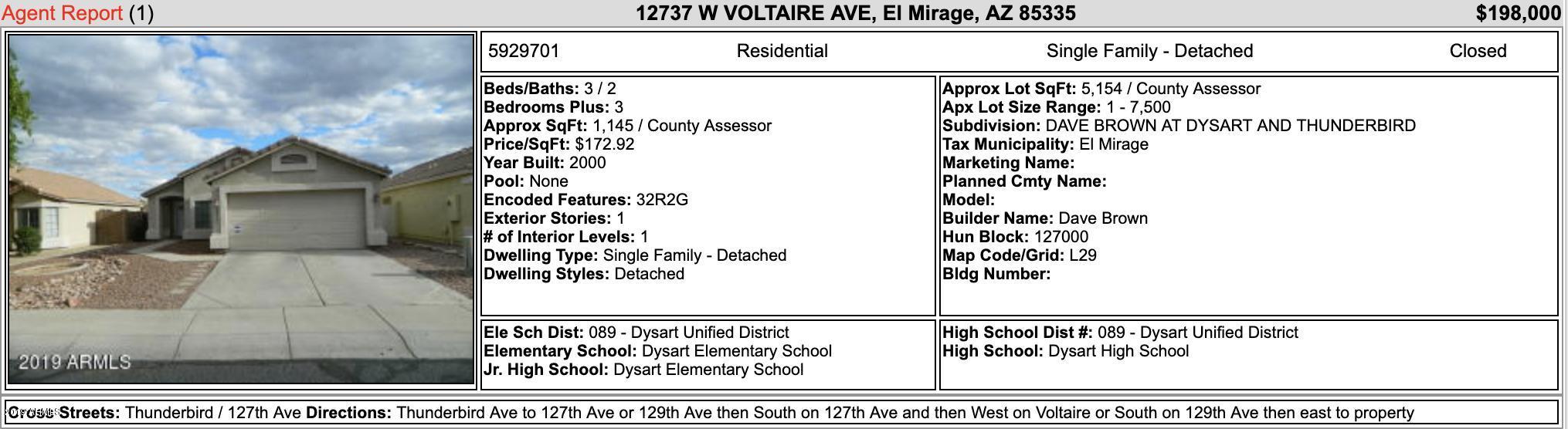 MLS 5934494 12911 W VOLTAIRE Avenue, El Mirage, AZ 85335 El Mirage AZ Single-Story