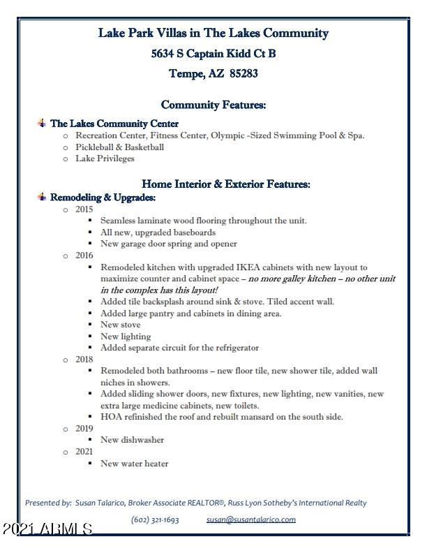 MLS 6267998 5634 S CAPTAIN KIDD Court Unit B, Tempe, AZ 85283 Tempe AZ The Lakes