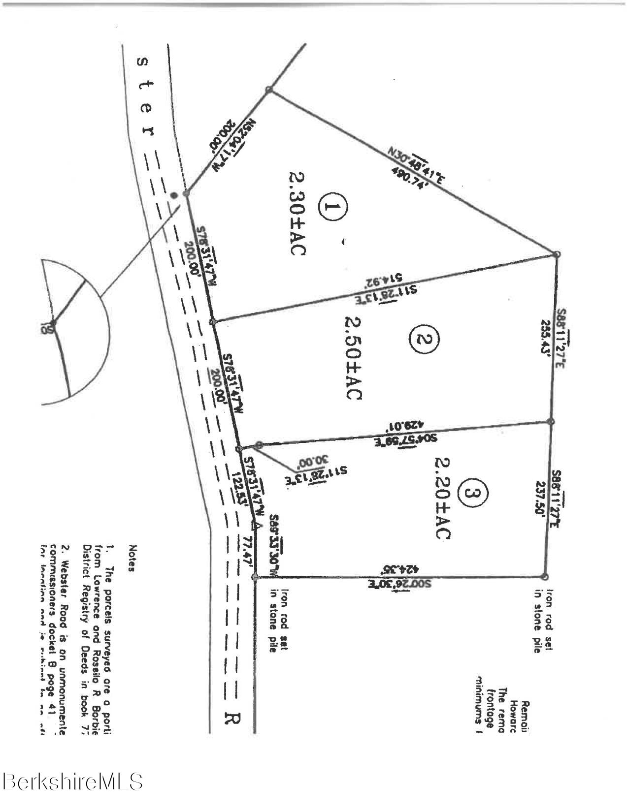 Lot 2 Webster Rd. Rd Tyringham MA 01264