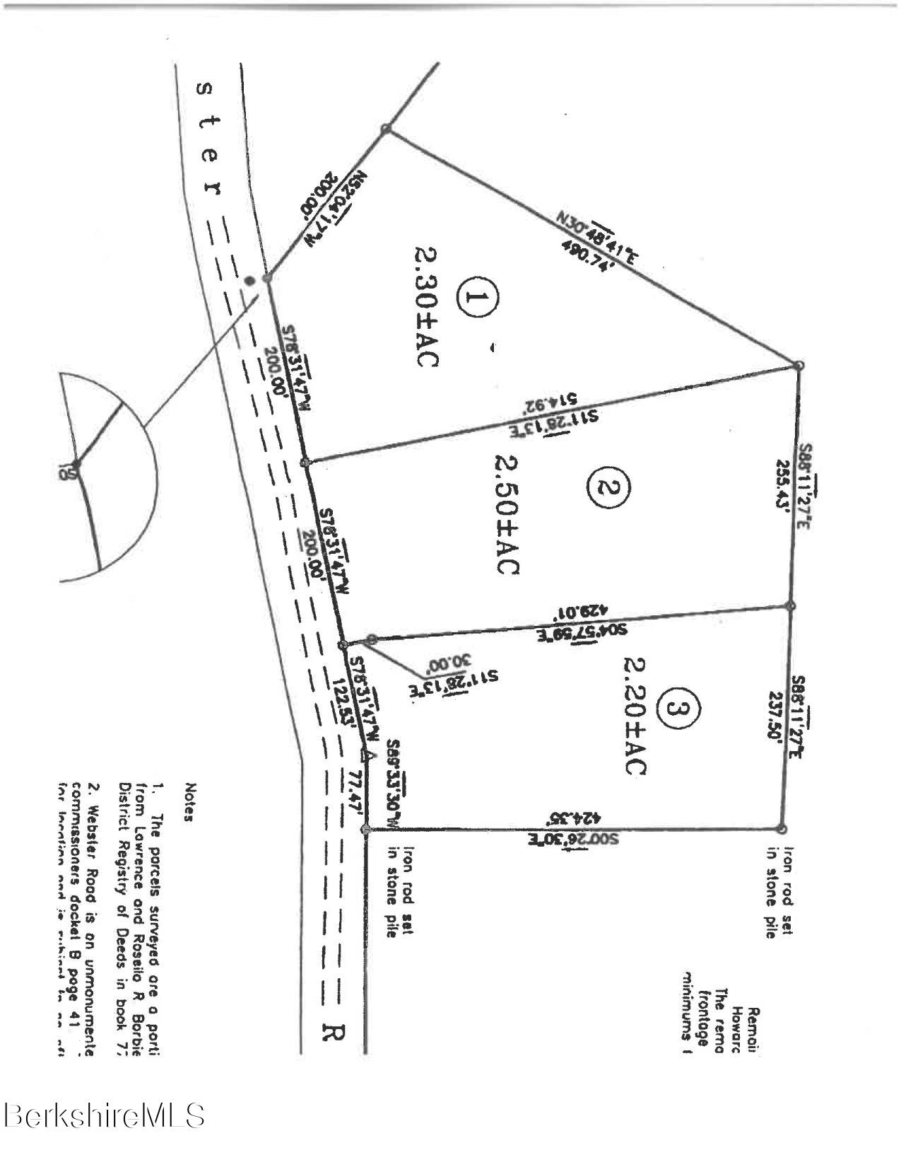 Lot 3 Webster Rd Tyringham MA 01264