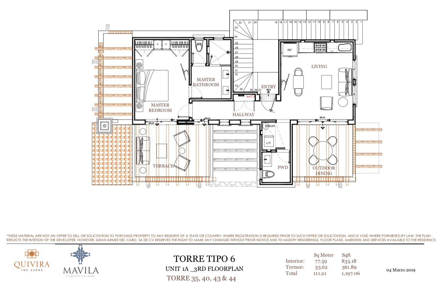 Pacific, 1 Bedroom Bedrooms, ,1 BathroomBathrooms,Condo,For Sale,Walk-up Condos 1 Bed Penthouse,19-955