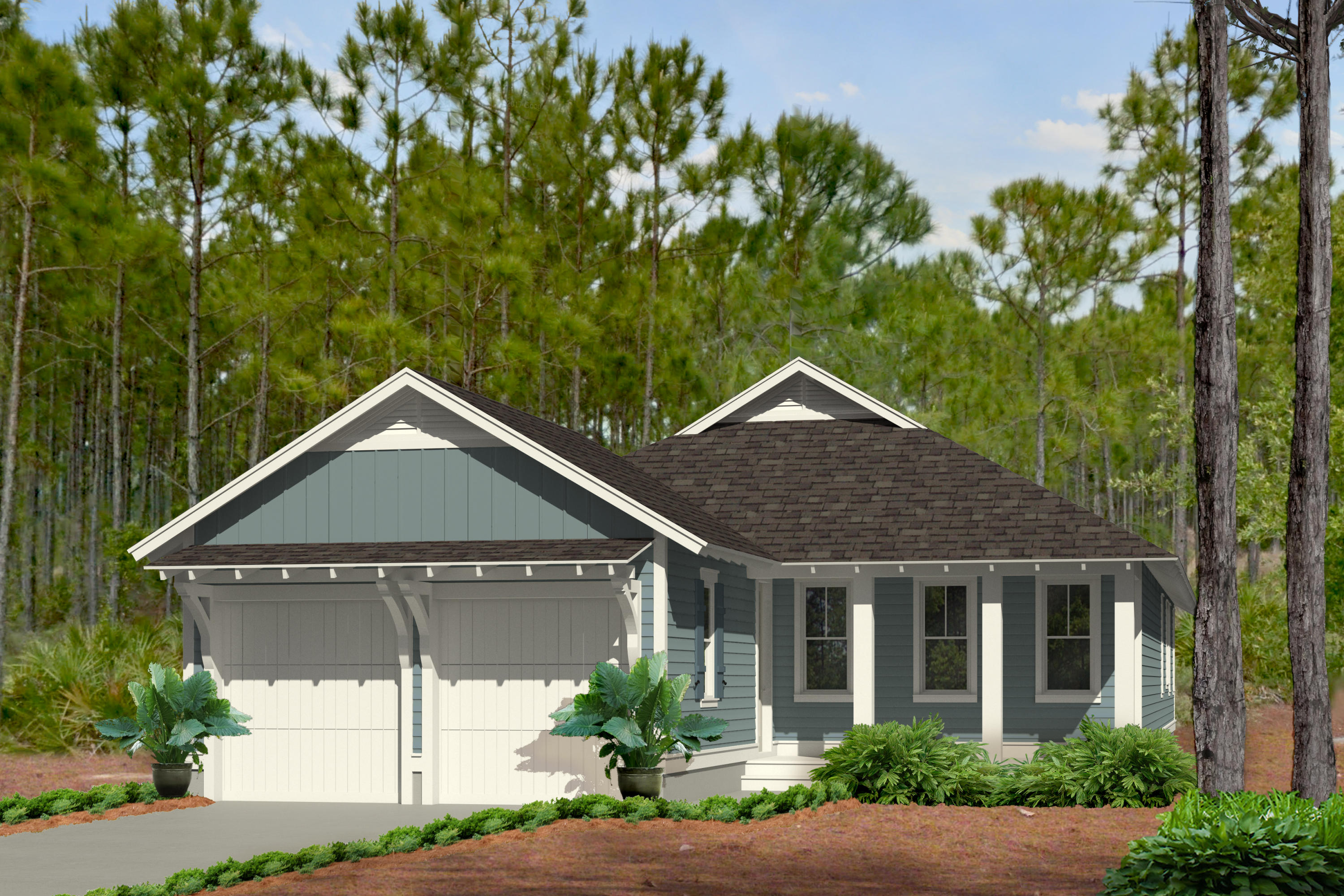 This 1-story Romair Construction Begonia II with Study plan has 3 bedrooms with full-size walk-in cl