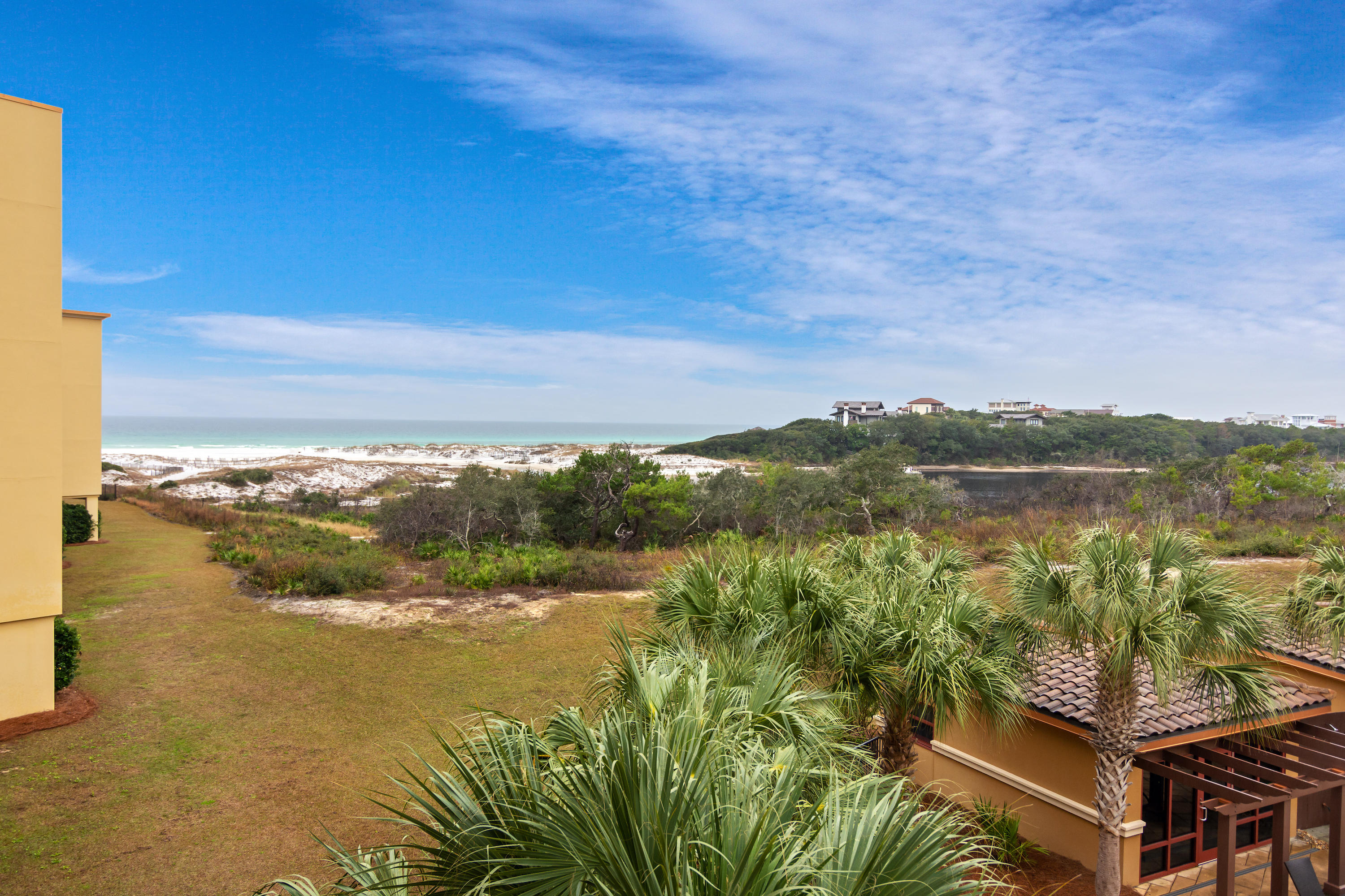 BEACH AND LAKE VIEW FROM YOUR OVERSIZED BALCONY!!!!  This fully furnished condominium residence offers the best of the 30A lifestyle.  Enjoy open, luxurious living while taking in breathtaking views of Redfish Lake & the Gulf of Mexico.  With over 2,200 square feet of living space, this 3 bedroom / 3.5 Bath home has everything needed to fully enjoy beach life.  The balcony is accessed from the living room or the master bedroom and each of the two guest bedrooms have their own private baths.  Some of the features include Viking appliances, a gas range with pot filler, 10' ceilings, crown molding, a large pantry, a wet bar with wine cooler and ice maker.  This luxury condo is nestled in the private and secluded beach community of Sanctuary by the Sea. Call today to schedule your appointment.
