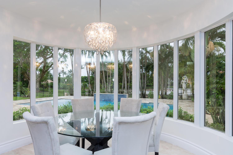 eat in circular kitchen view of pool