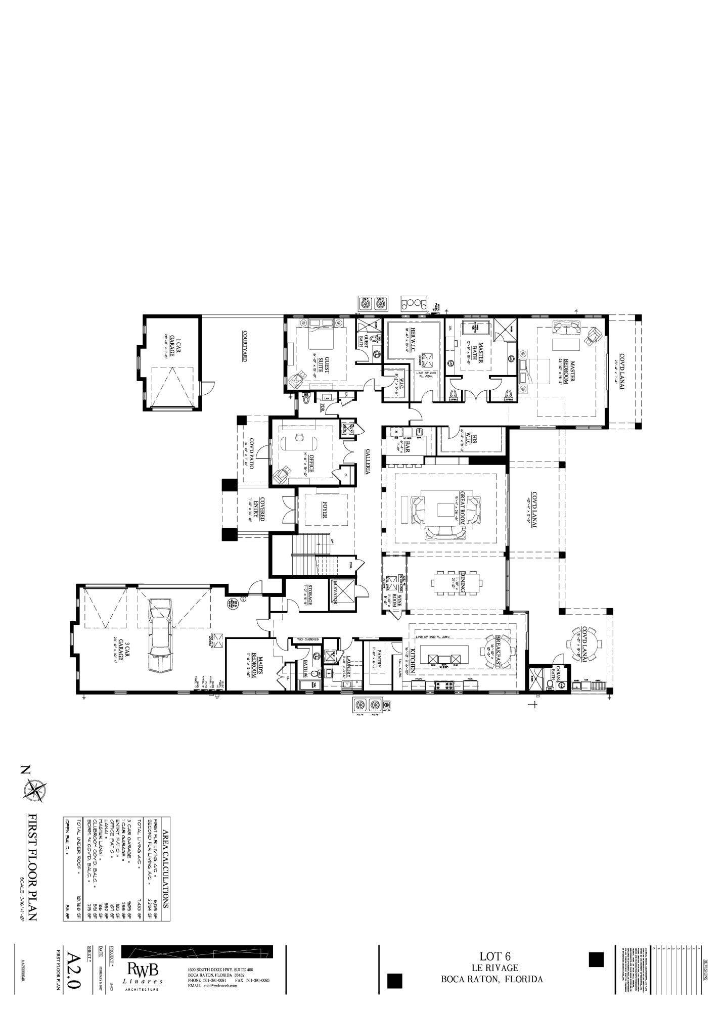 LOT 6 LE RIVAGE - A2.0 First Floor Plan