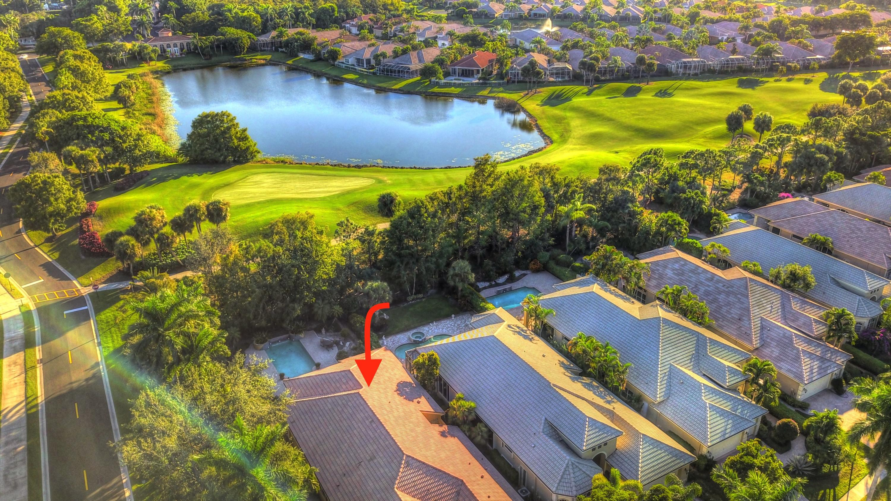 Aerial view of lake & golf course