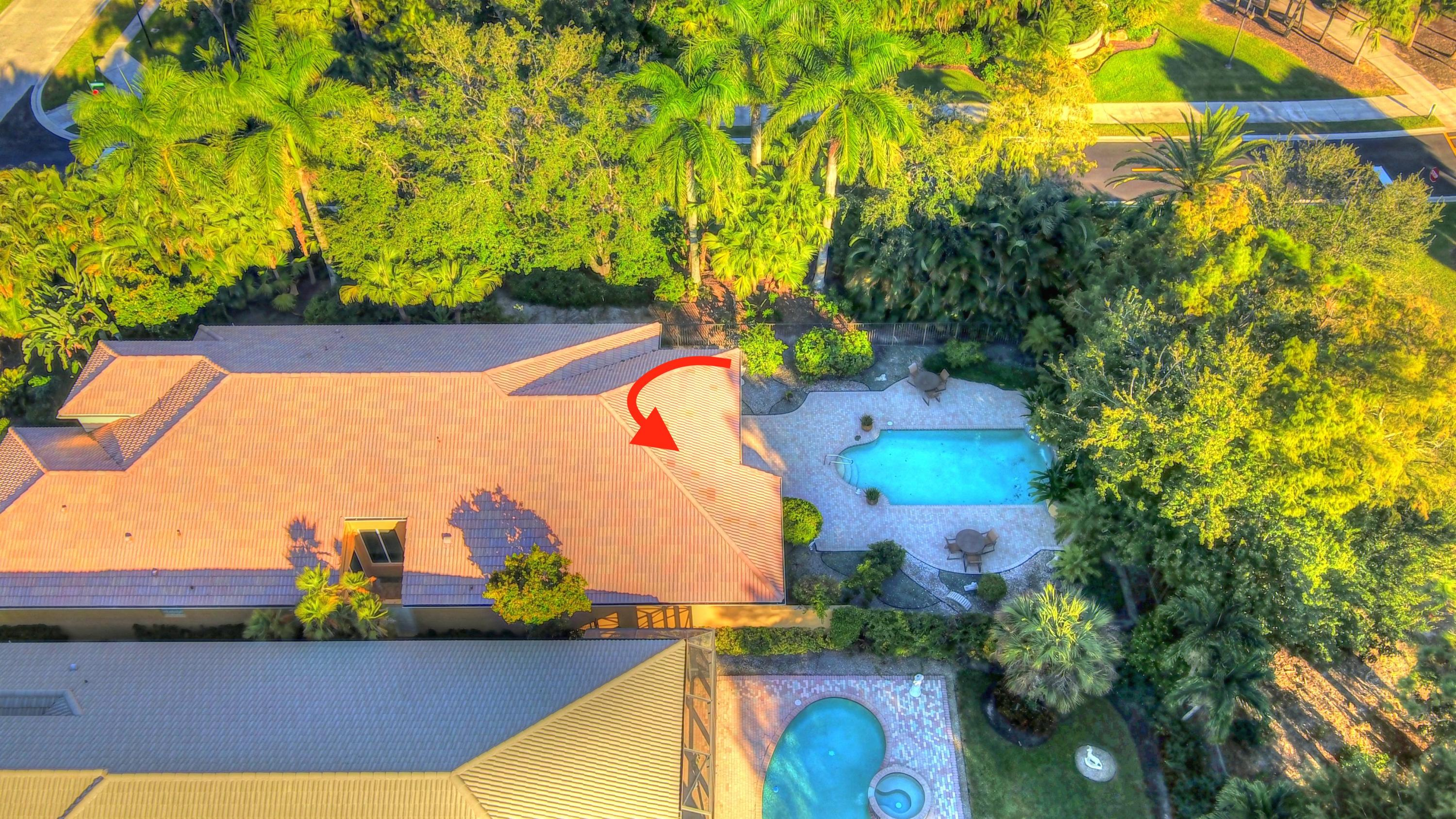 Aerial view with pool
