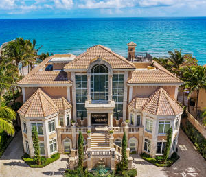Discover Nostro Mondo Sul Mare, arguably the finest example of exquisite Italian Renaissance-style architecture and design along Southeast Floridas platinum coastline. This oceanfront villa -- perched 17 feet above sea level with seawall protection and incomparable views -- pairs old-world aesthetics and 21st century technology and luxuries with a location in desirable Highland Beach. The gourmet kitchen is an epicureans delight. Amenities include private beach, saltwater pool & spa, professionally equipped gym, drive through air-conditioned garage for 10 vehicles with separate collector showroom, full villa natural gas generator & large secure motor court. More than 14,000 SF of true living space. Separate cabana and jacuzzi. Two maid or mother-in-law suites.