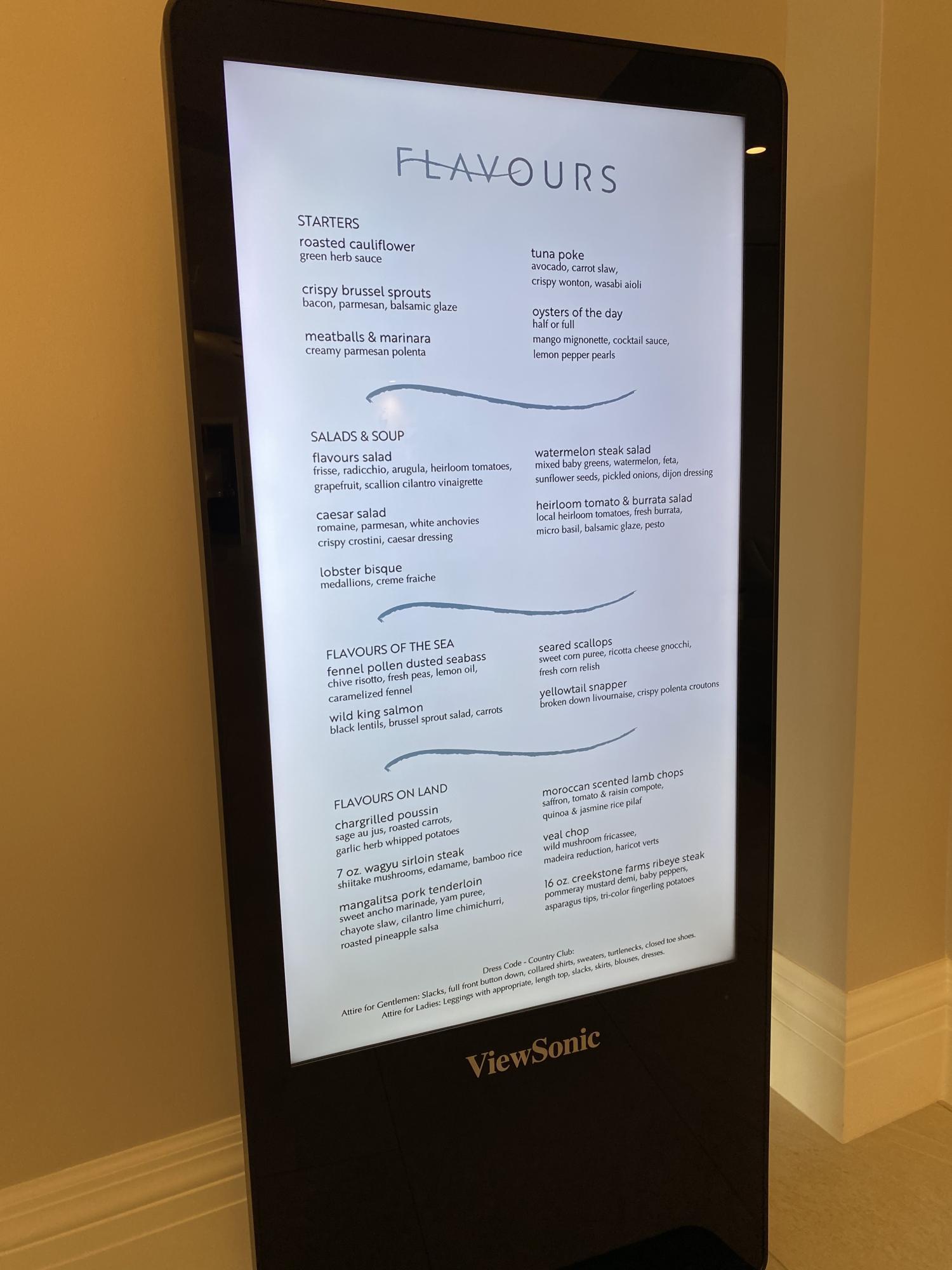 Wycliffe new fine dining menu