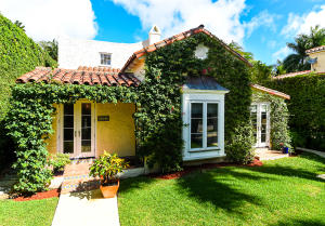 A classic Palm Beach cottage, totally renovated in 2011 with high-end kitchen appliances and new baths. Wolf gas range with double-ovens, Sub-Zero fridge and a pleasant breakfast nook. Two upstairs bedrooms plus a large sitting room/exercise area that sits above an absolutely idyllic large screened porch. First floor study with full bath and closets that can be closed off as a downstairs bedroom. Separate dining room and inviting living room with beautiful masonry fireplace.Guest cottage features two bedrooms, full bath and laundry room. Garage could be restored with entrance off the Clarke Street alleyway.Charming family home or great income property with a strong rental history, sited in the quiet center of the block. Close to all the walkable in-town amenities everyone loves.