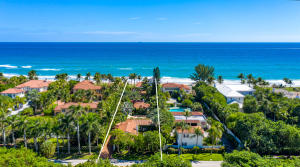 Iconic protected estate is ideal ultraluxury retreat in an uncertain world. Designed by Lila Vanderbilt Webb w/architect Maurice Fatio, using Mizner style/materials. Reimagined 2014. 3 superb smarthouse buildings, 5 bedrooms, gourmet  kitchen, oceanfront office, lookout tower, wet bars, pool w/statues/fountains, 2 spas, full gym, sauna, Mario Nievere landscape, private beach access/outdoor shower.  The information herein is deemed reliable and subject to errors, omissions or changes without notice.  The information has been derived from architectural plans or county records. Buyer should verify all measurements.  See more for exclusion list.