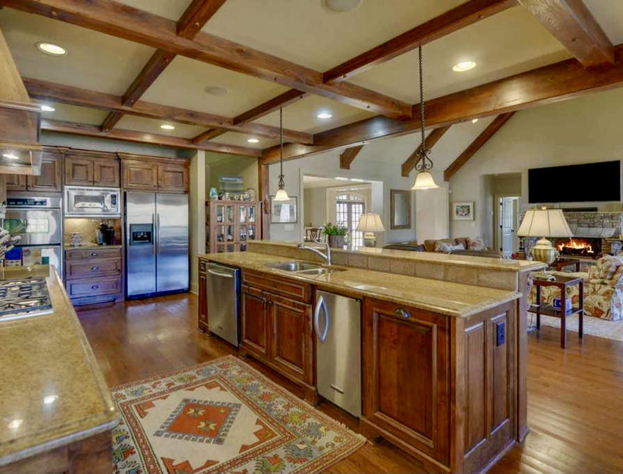 Kitchen w/Coffered Ceilings
