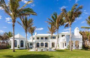Presenting the only new custom home available on Palm Beach Island with one of the highest elevations, 175 of direct ocean front and on 1.14 acres. This Modern, Classic Bermuda inspired estate boasts over 18,000 SF. The spacious 7 bedroom home has views of the ocean from almost every room and includes gourmet dual kitchens, expansive living, dining, and entertaining areas, a private direct oceanfront office, and expansive loggias with endless ocean views. The basement includes a 4,000 bottle custom wine cellar, theater room with a bar, and professional grade fitness center. The   2 bedroom, 2 bath guest house has a gracious great room and terrace with garden views and gourmet kitchen. The grounds will include a private entry gate on North Ocean Boulevard that will open to a