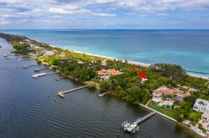 Rare opportunity to purchase the largest available property in Manalapan. First time on market since 1978.APPROX. 2.5 ACRES TOTALLY 400 water frontage- 200 on ocean and 200 on IntracoastalExtremely High Elevation- Approved ocean cabana plans. Cabana may be 1000 SF plus 250 SF of decking.Existing dome home is inspired by the distinguished architect Ames Bennet.