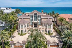 Offered at $25 million fully furnished Including priceless antiques & art, this is finest example of exquisite Italian Renaissance-style architecture and design on S E Floridas platinum coast. Incomparable views from all major rooms in the home. Old-world aesthetics blend beautifully with 21st century technology and luxuries. Extremely rare built-ins and cabinetry throughout. Gourmet kitchen, private beach, saltwater pool/spa, enormous gymnasium, whole-house generator, gated motor court, air-conditioned drive-through garage plus collector car showroom. Unique roof-top crows nest lounge and bar serving private sun/entertainment deck.Steam shower in owners suite. Two mother-in-law/staff suites. Antique fireplace. Wine cooler. More than 14,000 SF of living space. Roof installed 2021
