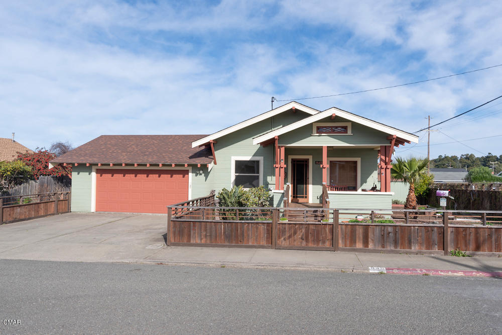 Alluring 2 bed 1 bath Craftsman home sited in a nice neighborhood and a short distance from the CVStarr Aquatic Center. Augmented by special features such as hammered copper kitchen and bathroom sinks, reclaimed vintage doors, nice tile flooring and claw foot bathtub in the bathroom which also has a  laundry chute for your convenience, & beautiful laminate wood flooring.  Ample back deck that also has a delightful enclosed shower area with tile flooring.  Monitor heating to keep you warm and cozy.  Conveniently located near all of the amenities of the City of Fort Bragg.  Check it out!