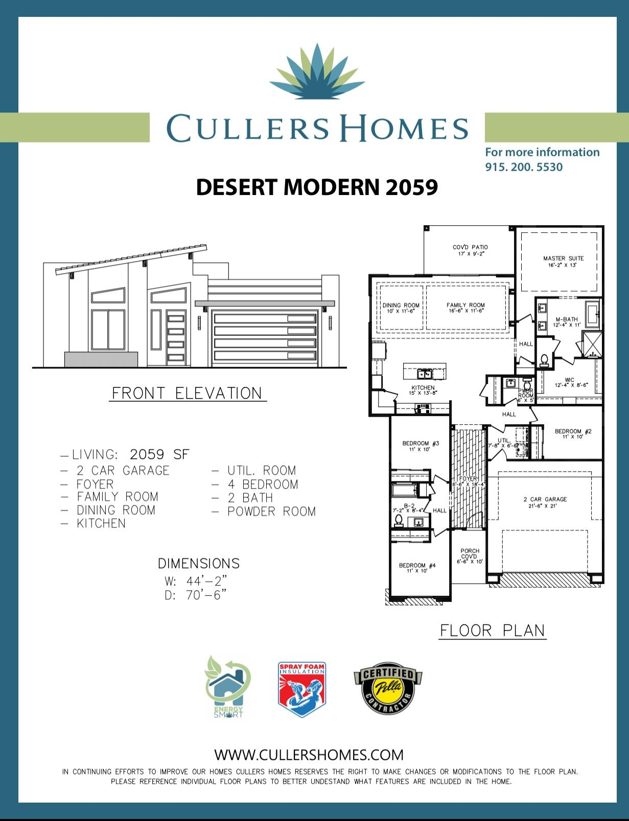 Available in the brand new Community at Cimarron Canyon!  Just off Resler and Northern Pass!A beautiful custom by Cullers Homes. A DM 2059 Floor Plan on the west side of El Paso. Open concept with open design featuring 4 bedrooms and 2.5 Bathrooms. Cullers Homes energy advantage package is designed to reduce energy consumption by 40% exceeding energy star ratings! Easy access to 1-10 and Transmountain Rd. A must see! Call the listing agent for more details!