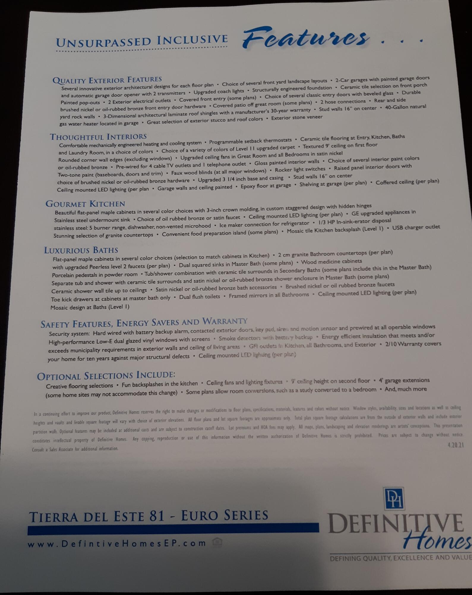TDE 81  Features