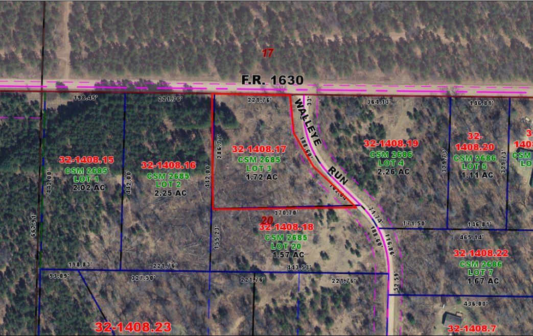 Lot 3 Walleye Run, Stephenson, Wisconsin 54114, ,Vacant Land,For Sale,Walleye Run,1675731