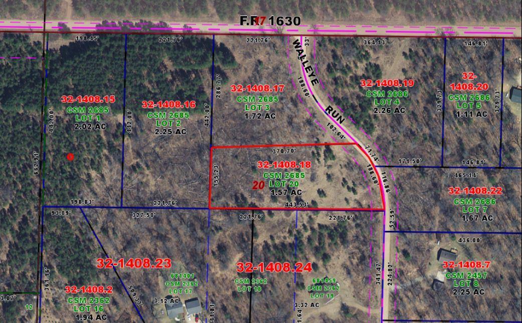Lot 20 Walleye Run, Stephenson, Wisconsin 54114, ,Vacant Land,For Sale,Walleye Run,1675733