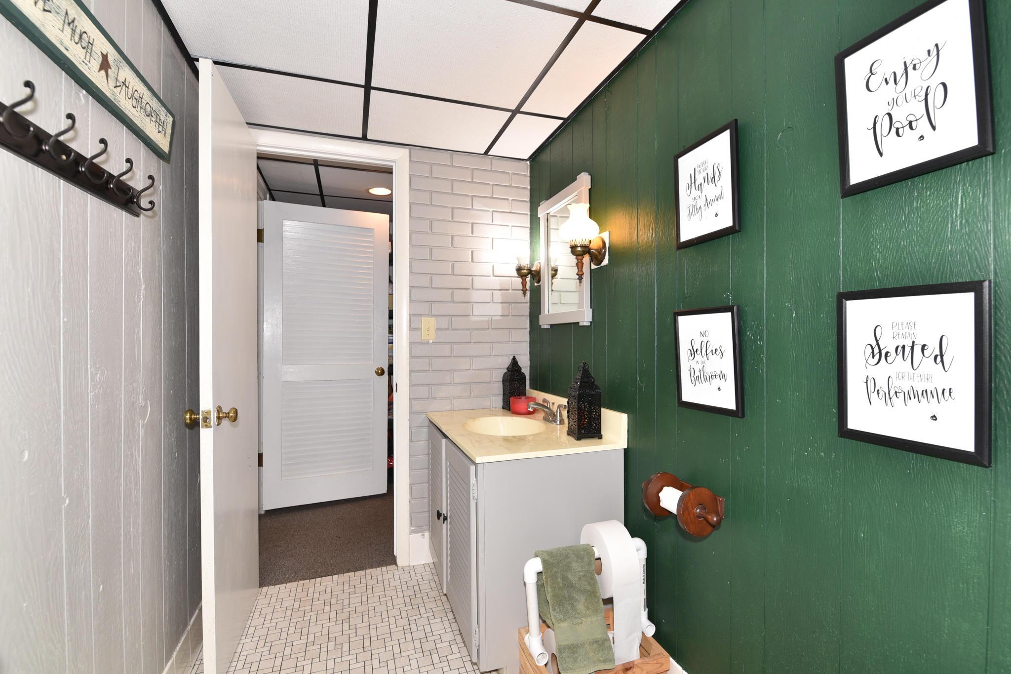 Lower level half bathroom