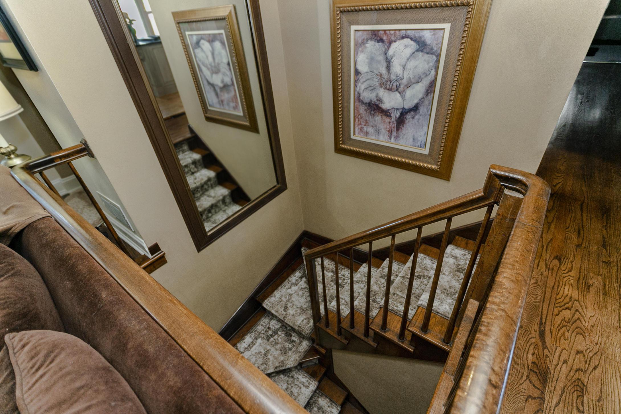Natural wood staircase