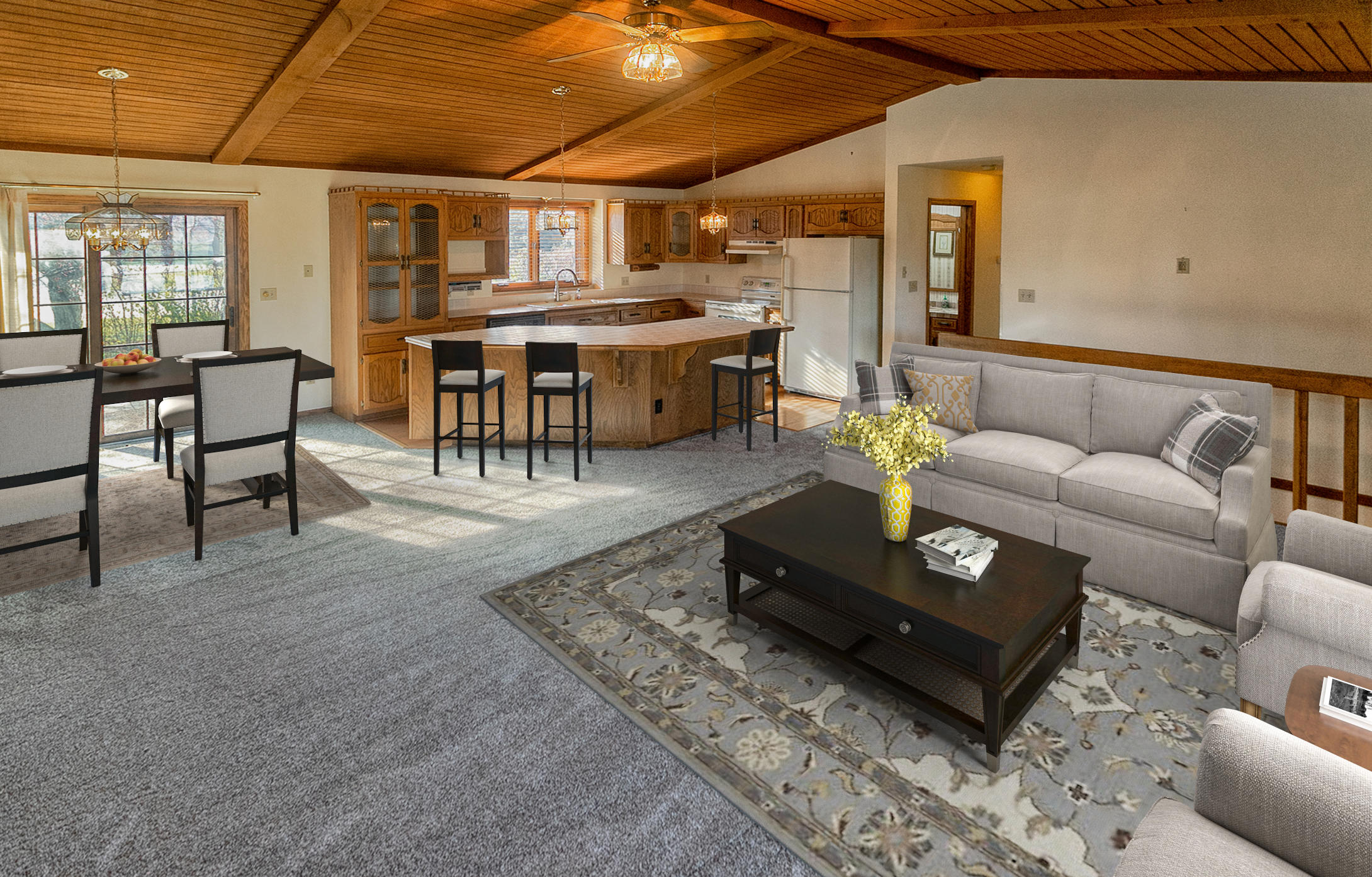 Living/dining/kitchen virtually staged