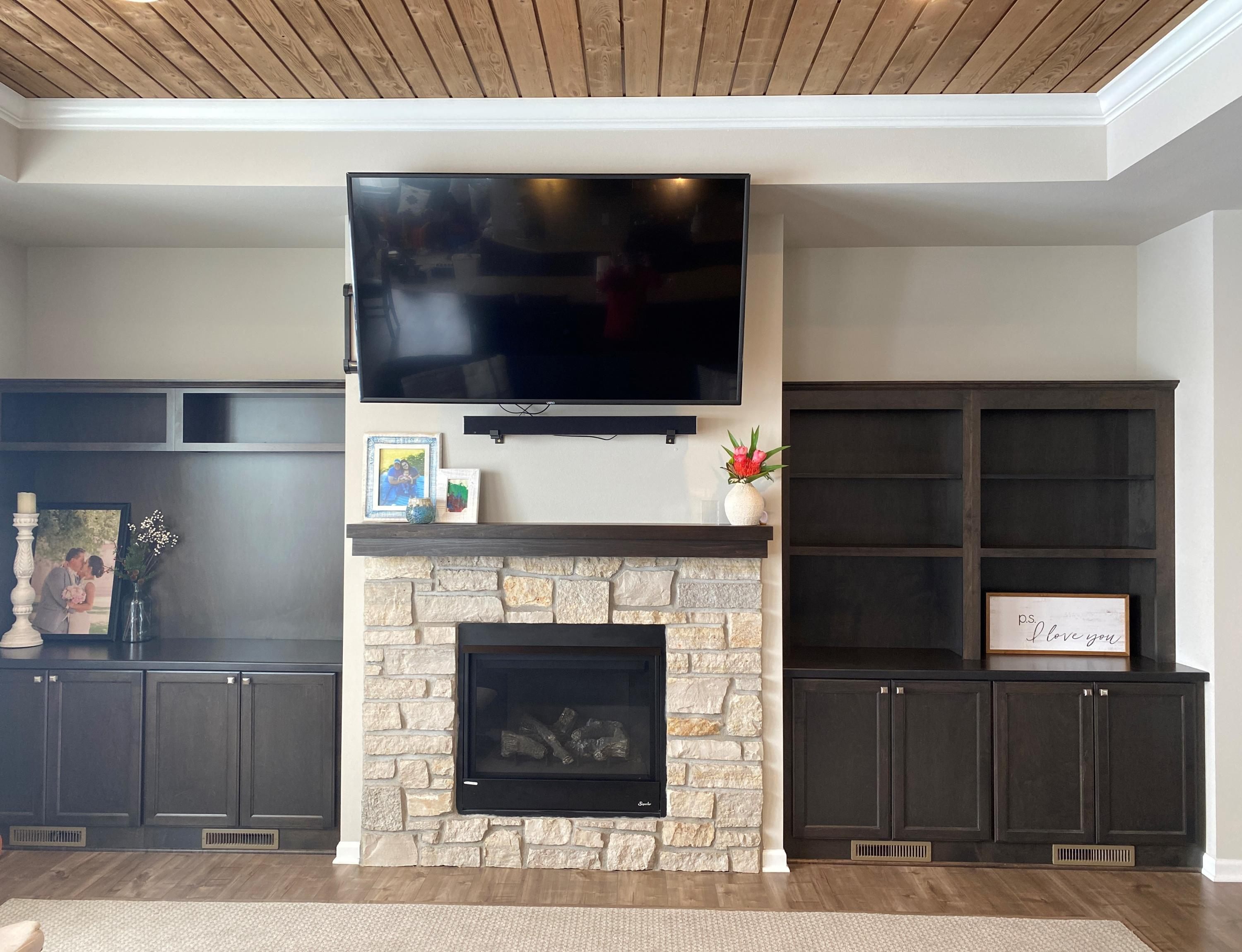fire place and book shelves