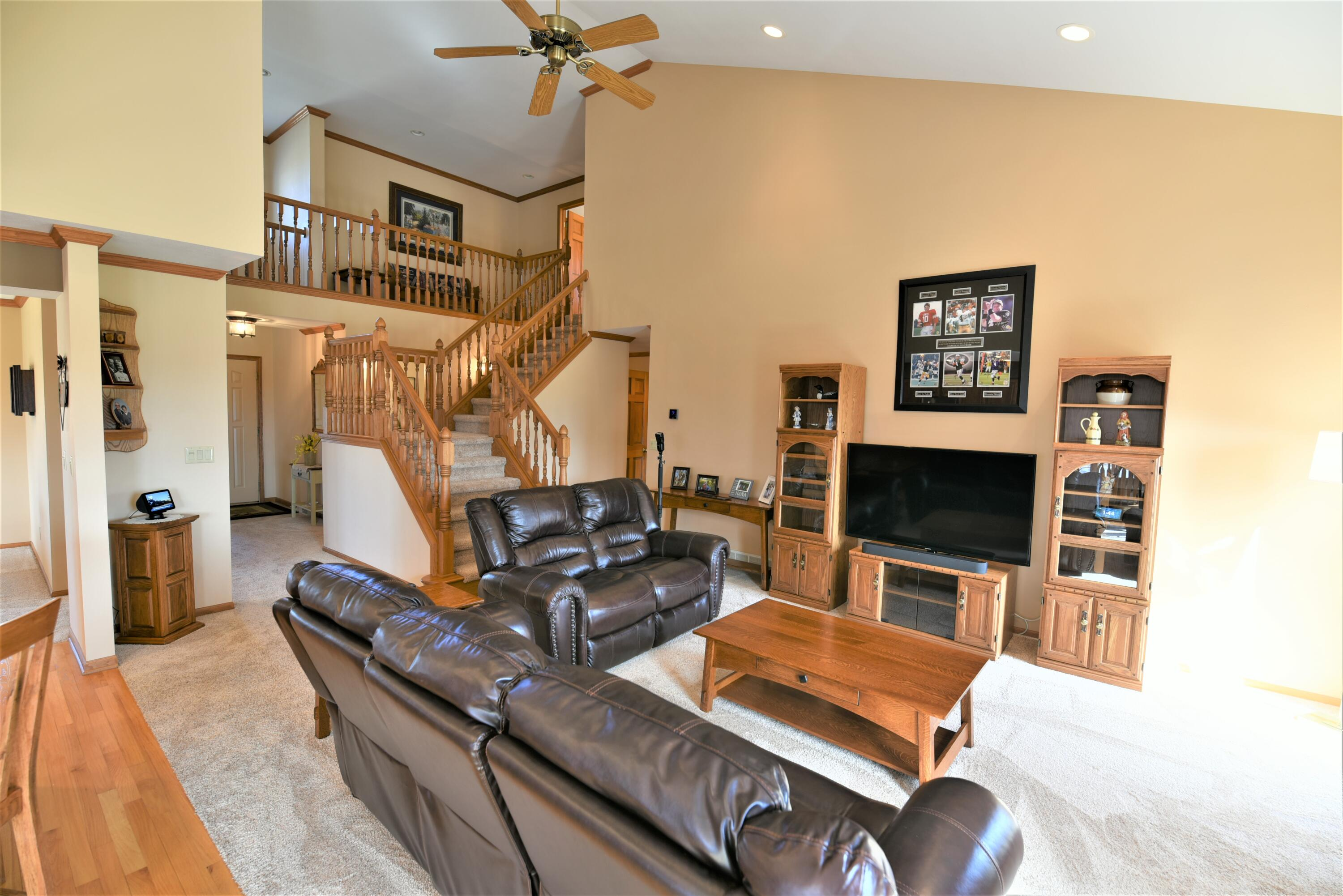 Living room staircase view