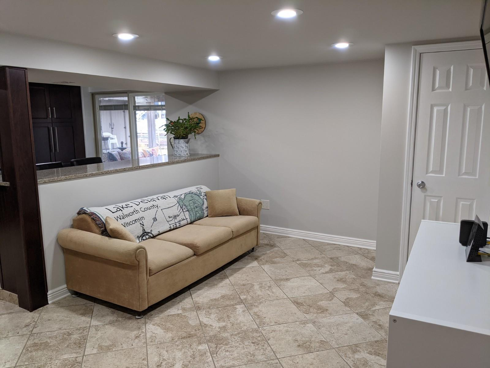 Family room with walk out