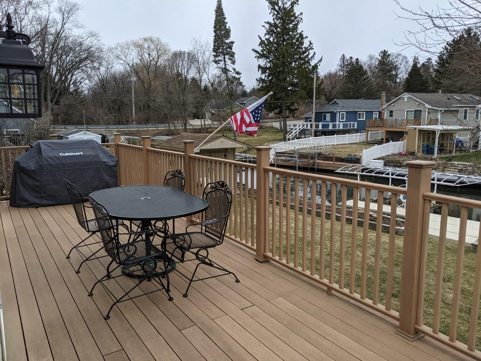 Large waterfront deck