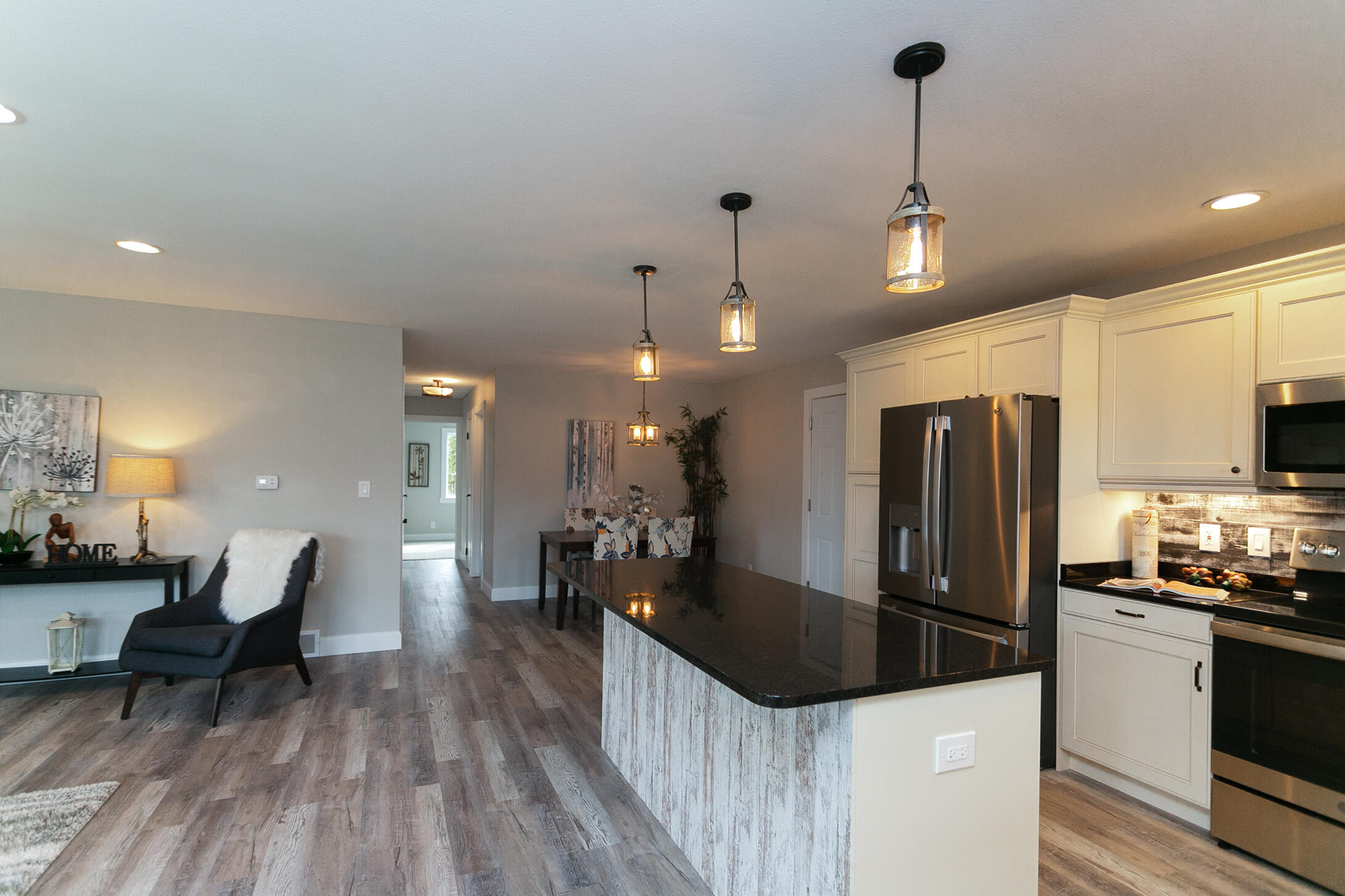 Open concept kitchen/living/dining area