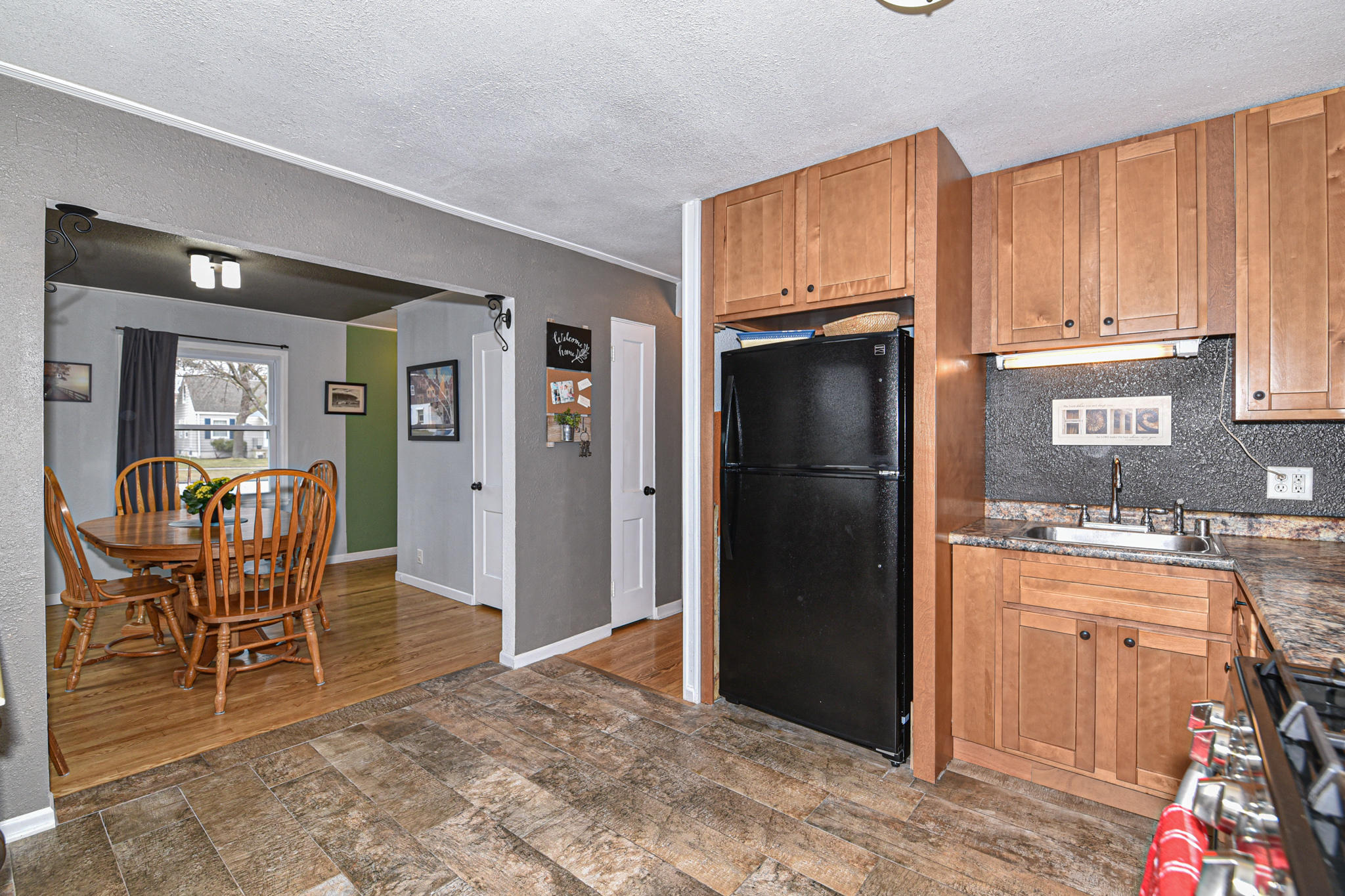Kitchen opens to dining