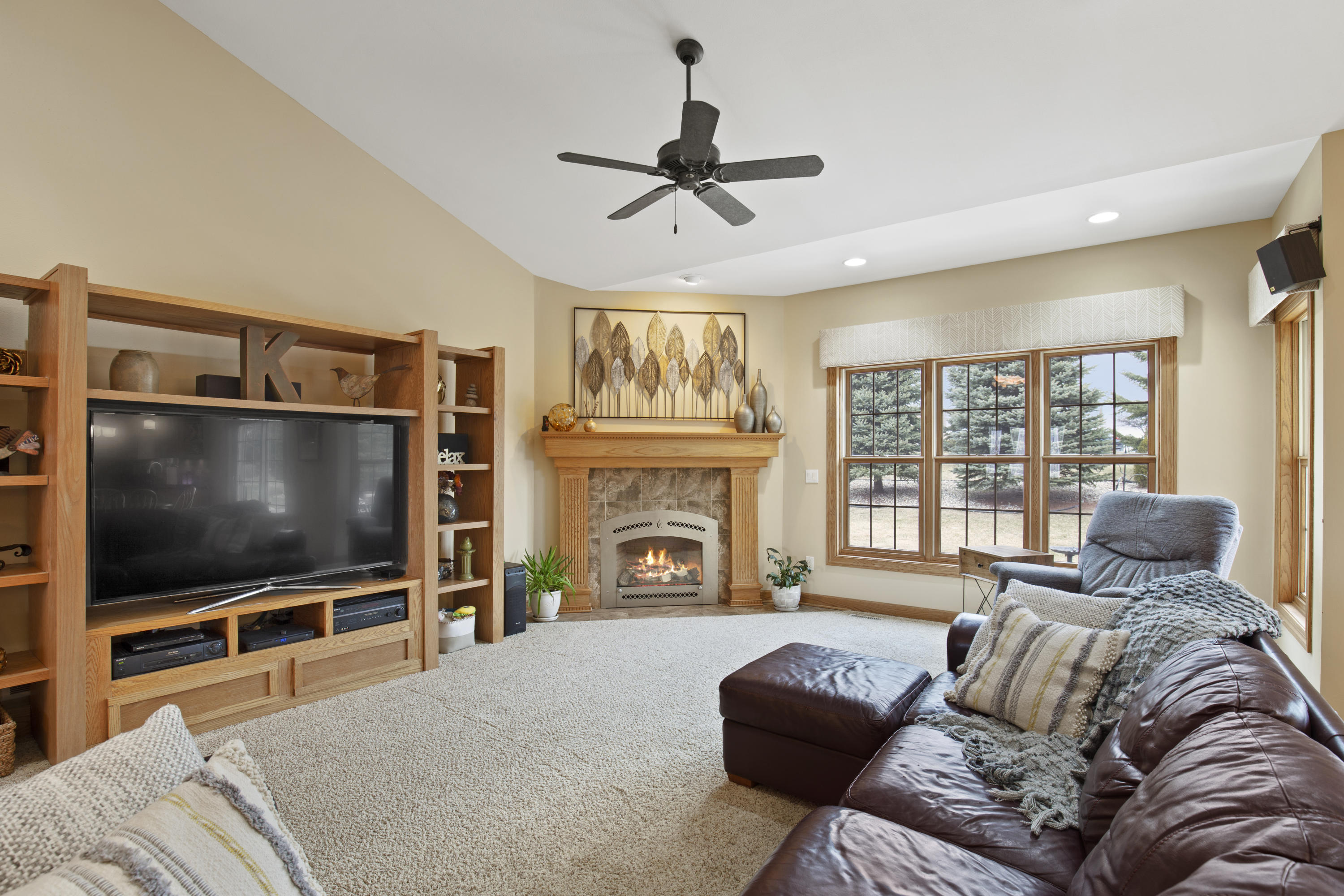 Fireplace & Cathedral Ceiling