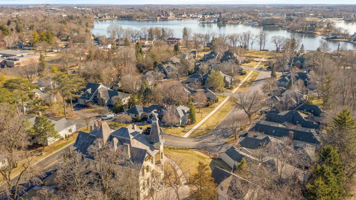 Aerial of condos to lake access