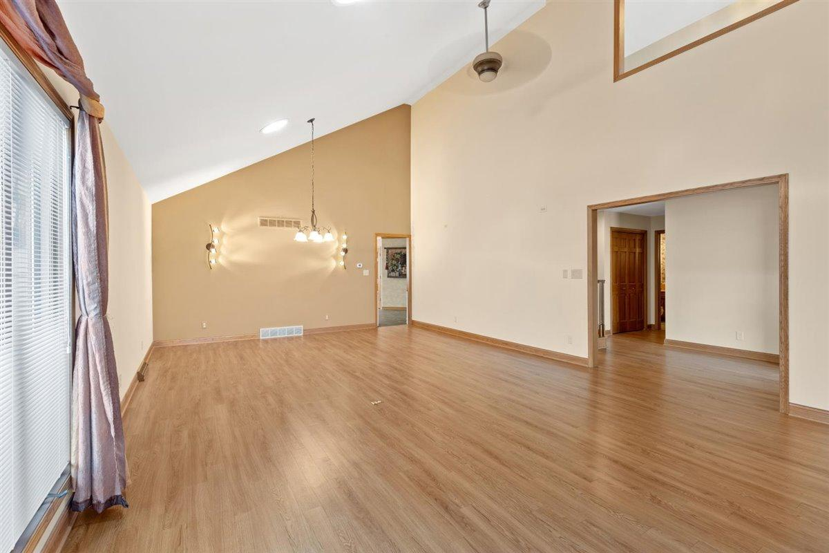Great room with skylights