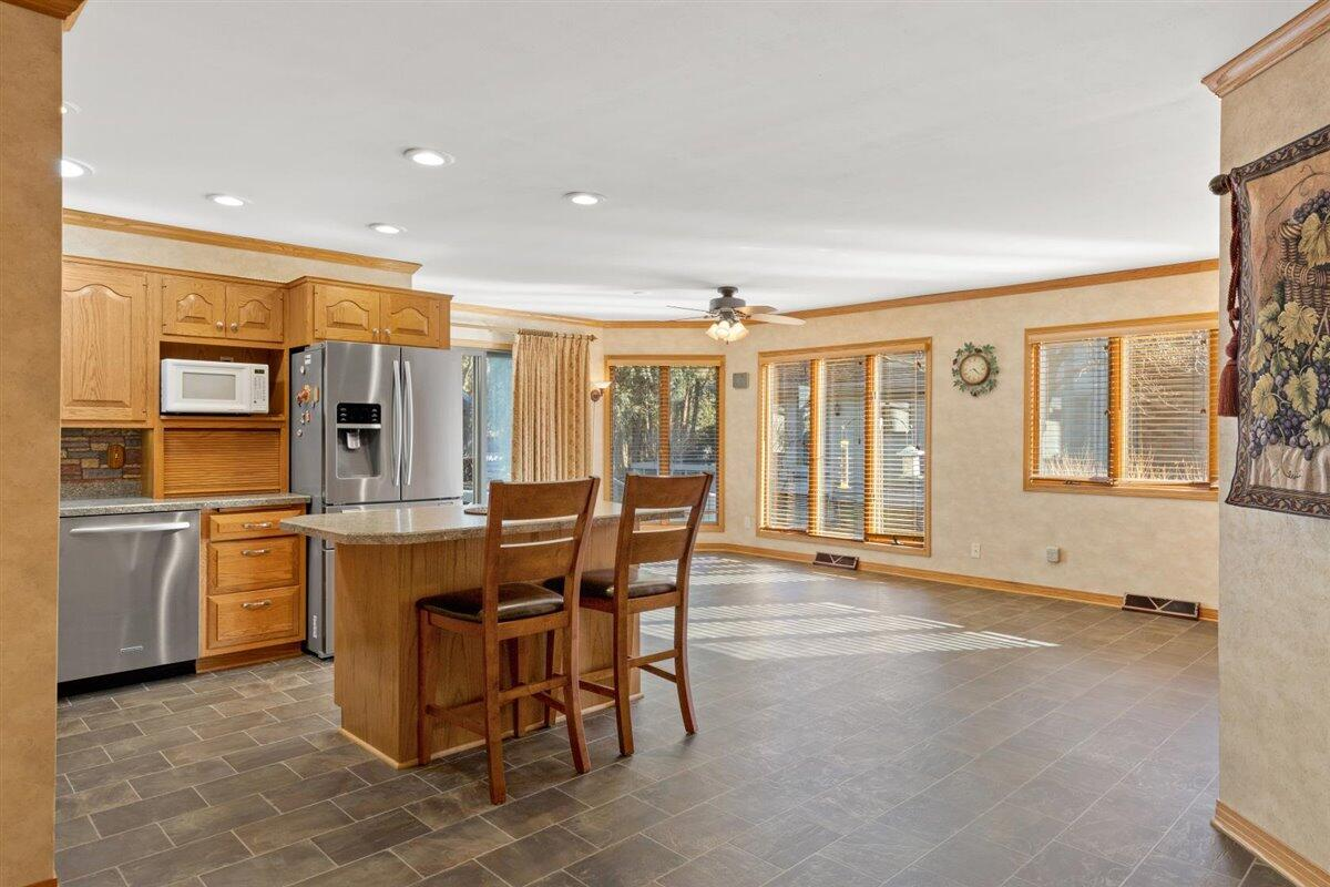 Kitchen and large eating area