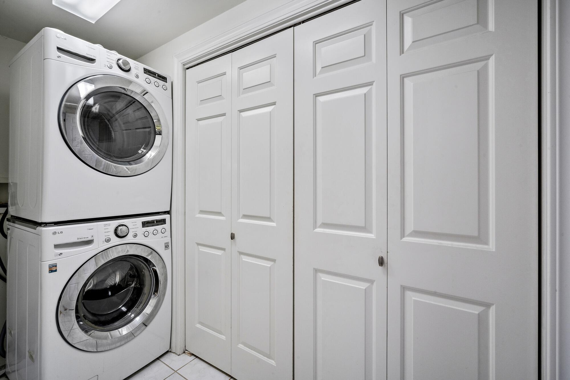Washer & Dryer Included. Great storage.