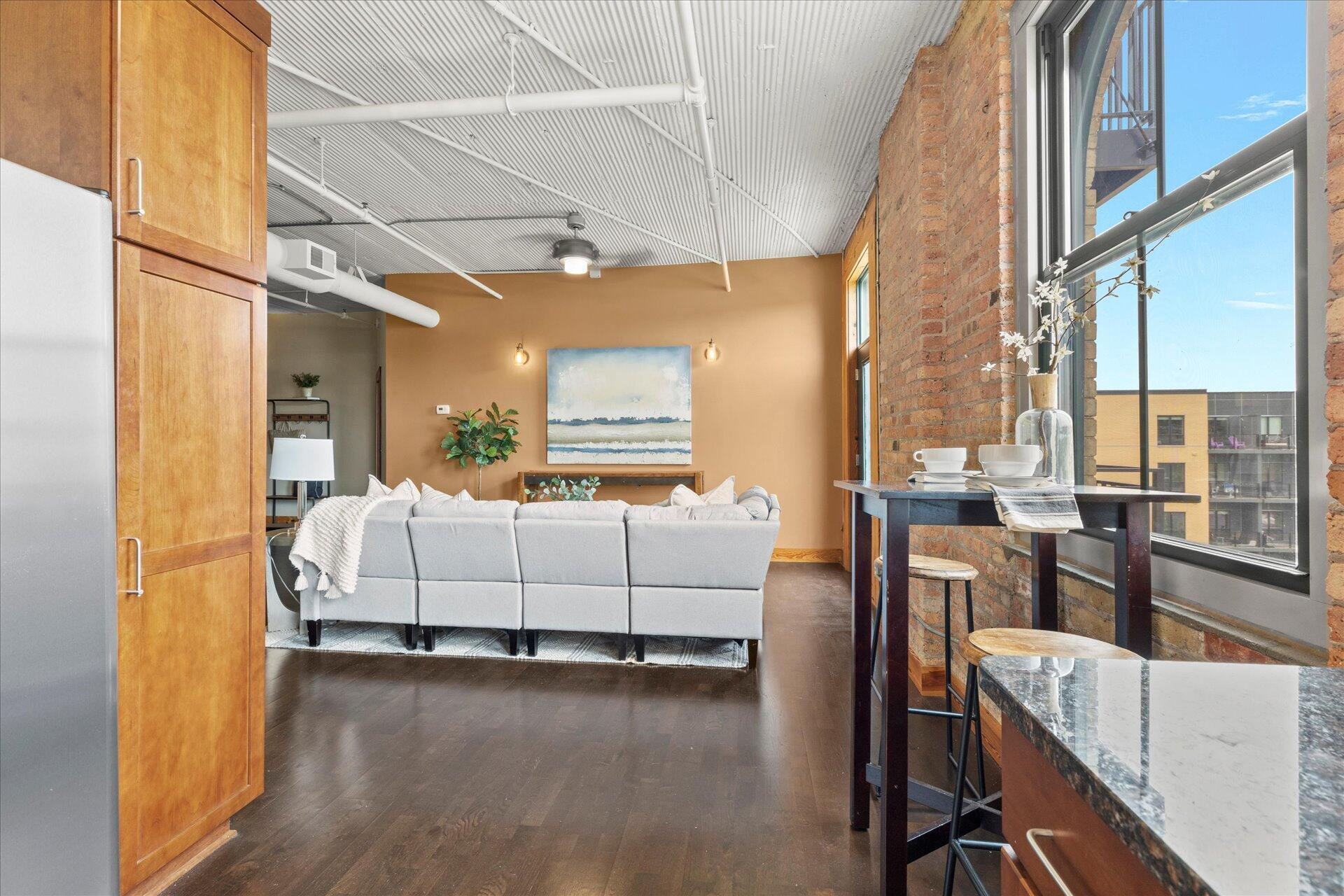 Kitchen flows into living room